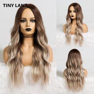 Дешевые синтетические None-кружева TINY LANA Женщины Волнистые Синтетические Длинные парики средняя часть Ombre Brown Ash Natural Daily Парики