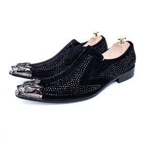Business-Mann-Schuhe Veloursleder Strass Männer kleiden männlichen paty prom Schuhe plus Größe Formal Male Brautschuhe