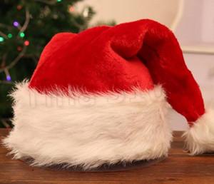 القطيفة الأحمر سانتا قبعة عيد الميلاد قبعة سميكة شتاء دافئ الكبار أفخم بابا نويل قبعة عيد الميلاد زينة عيد الميلاد القبعات