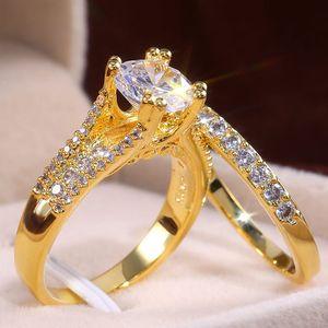 Couleur or mousseux Zircon anneaux ensemble taille de l'anneau de doigt de haute qualité 6-10 filles Femme Bague Femme mariée bijoux de fiançailles