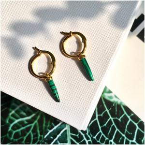 Vintage Greenstone Dreieck Troddel-Tropfen-Ohrring-lange Kette baumeln Ohrringe für Frauen Pendientes Brincos Luxusdesignerschmuck der Frauen