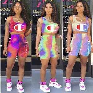 Şampiyonu Womens yaz kıyafetler 2 parça kadınlar set tasarımcı kadın giyim moda tank top + şort mektup baskı takım klw1223 suits
