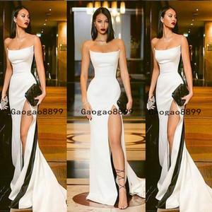 2020 noir et blanc magnifique sirène Robes de bal sexy bustier haute Fractionnement trompette partie formelle robe de soirée sur mesure