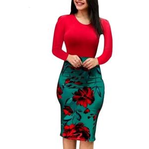 Ropa para mujer Vestido ajustado elegante del otoño vestido de gran tamaño partido de los vestidos de lápiz floral atractivo Vestido ajustado Vestidos Ropa de diseño X3