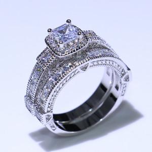 Vintage Moda Takı 925 Ayar Gümüş Prenses Kesim Beyaz Topaz cz Elmas Eternity Çift Yüzük Düğün Gelin Yüzük Seti Fpr Kadınlar hediye