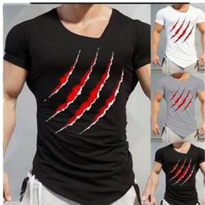 Fitness Eğitim Mens Tees Yaz Pençesi Erkek tişörtleri Moda İnce Düzensiz Hem için Print Tops