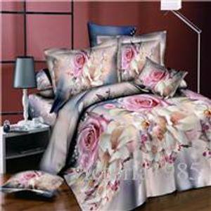 Jogo do fundamento flor 4PCS / set rosa impressão de linho luxo Cama de edredon cobrir fronha Roupa de cama Quarto Decoração têxtil-lar