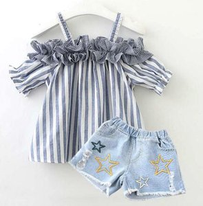 Pudcoco 2pcs Summer Girls Clothes Sets Baby Kids Clothing Ruffle Off Shoulder Tops Denim Shorts Toddler Clothing Girls Sets