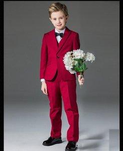 Kraliyet Blue Boys Resmi OccasionTuxedos Notch Yaka Yan Vent Çocuklar Düğün Smokin Çocuk Suit Tatil giysi (Ceket + Pantolon + Kravat