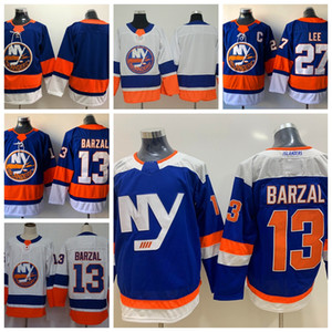 2018 New York Islanders Hóquei Jerseys Alternate 13 Mathew Barzal 27 Anders Lee Home Royal Blue Barato Costurado Jerseys C Patch