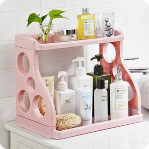 Artículos de tocador de baño de escritorio de almacenamiento en rack doble repisa de plástico de almacenamiento de cocina condimento especia estante estante wx8081422