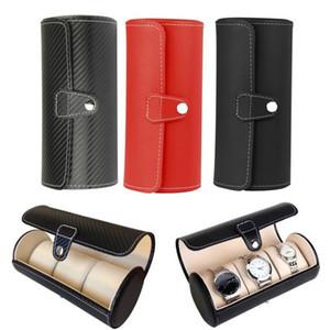 Box Watch display Gift Box Caso Rullo 3 Slot di cuoio dei monili del braccialetto della collana di orologio da polso bagagli custodia da viaggio