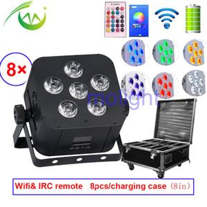 DMX sem fio Up iluminação inteligente DJ UPLIGHT 6 * 18w RGBWA + UV Freedom Light Par DJ Par Wifi bateria LED plana Par Casamentos de luzes