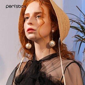 Peri'sbox 2018 New Large Shell Pearl Drop Earrings for Women Beaded Chain Double Pearl Earrings Big Statement Earrings Jewelry S914