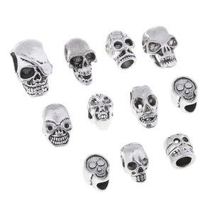 11 Piece Halloween Antique alliage d'argent de crâne Charms Grand Trou perles en vrac pour collier bricolage bijoux bracelet métier de fabrication de perles
