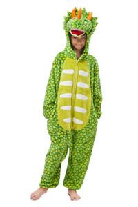 Çocuklar Hayvan Pijama Unisex Açık Yeşil Triceratops Dinosaur pijamalar Onesie Karikatür Kış Gecesi Jumpsuit Kostümler MX-134-D
