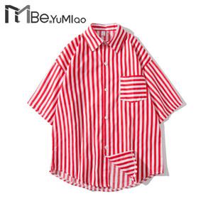 Be.YuMiao Coréen Ulzzang Harajuku Surdimensionné Rayé Chemises En Mousseline De Soie Hommes Japonais Vintage manches courtes Loose Pyjama Shirt Homme