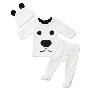 Newborn Baby Boy 3pcs Long Sleeve Fleece Bear Top Sweatershirt Pant Legging Hat Set Warm Winter Clothes Boys Tracksuit 0-24M