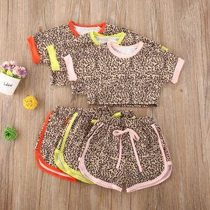 0-5Y Summer Infant Baby Girls Leopard Print Short Sleeve T Shirts Tops+Shorts 2pcs Lovely Clothes Sets