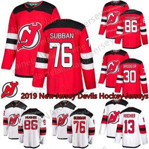 2018-2019 Saison New Jersey Devils Custom Jersey 76 P. K. Subban 86 Jack Hughes 9 Taylor Halle 13 Nico Hisochier Red Hockey Trikots