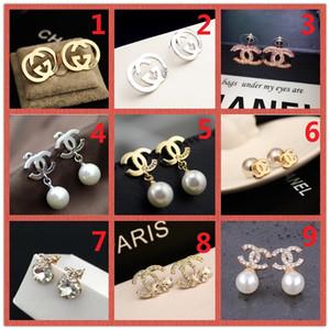TOPO! Preço por atacado! 14K clássico Designer Pearl Diamond Brincos Studs Gold Silver Dangler Jóias Acessórios partido do presente A6