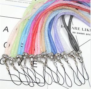 Роскошных побрякушки Кристалл Rhinestone Lanyard Алмазной Висячей Веревка ожерелье Струнных шеи цепь Sling Красочная для телефонов ID карты брелока для MP3