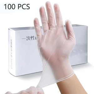 100 PCS Transparent Disposable PVC Gloves Dishwashing Kitchen Latex Rubber Garden Gloves Universal For Home Cleaning Y200421