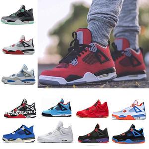 Zapatillas de baloncesto Toro Bravo 4s para hombre Día Eminem Kaws Hot Punch Tattoo Cactus Jack Raptors Negro Pizzeria Blanco Cemento para hombre