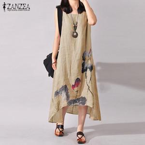 ZANZEA Leinenkleid Frauen-Sommer-Sleeveless Tuschmalerei Cotton Vestidos Damen Mitte Kalb Vestido Frauen Plus Size Kleider Y200326