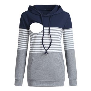 Autumn Maternity Stripe Sweatshirt Breastfeeding Clothes Hooded Pregnant Hoodies Women Nursing Tops Pregnancy Sweatshirt