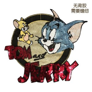 Cute Cat and Mouse Sequin Pattern Patch Applied To Clothing Suitable for Both Boys and Girls Sewn In Cowboy Coats, Shirts,