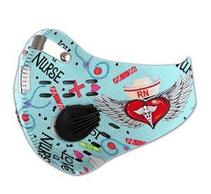 Love a Nurse be strong carbon pm 2.5 маски для лица 3D маска для лица tapabocas con filtro de carbono дыхательный клапан маски зажим для носа