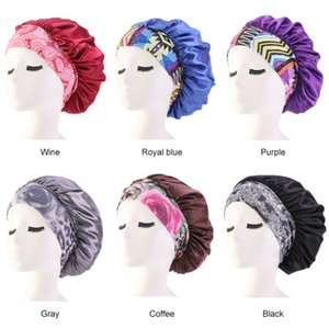 Women Satin Night Beauty Salon Sleep Cap Cover Hair Bonnet Hat Silk Head Wide Elastic Band For Curly Springy Hair Shower Cap