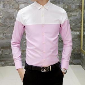 Bloque del color de la nueva llegada de algodón para hombre Camisas Oxford resorte ocasional de la manga larga delgada vestido rayado Fit camisa de los hombres más tamaño 4XL