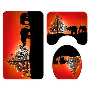 Рождественские Украшения Ванная Комната Туалет Коврик Набор Для Дома Олень Белка Слон Ковер Коврик 2020 Новый Год Рождество Партии Декор Коврики
