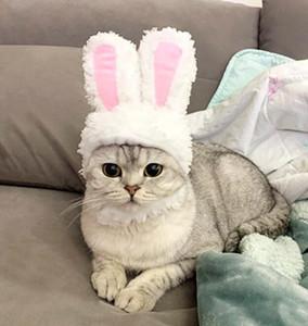Lovely Pet Cat Dog Soft Cotton Rabbit Ear Hair Headwear Ornaments Kitten Decor Costume Hood Hat Cap Cat Ears Pet Cosplay Accessories NN