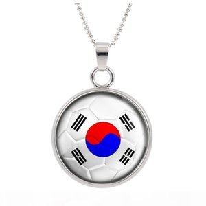 New Three-dimensional 2018 World Cup Korea Necklace Pendant colorful pendant Glass Cabochon Dome Necklaces jewelry Bestselling customed
