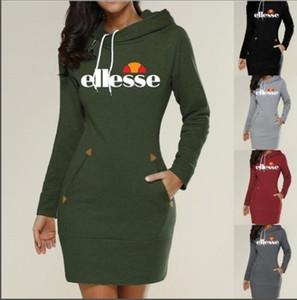5 colori S-3XL Velvet Donne lungo casuale incappucciato matita con cappuccio a maniche lunghe maglione aderente Pocket tunica Dress Top