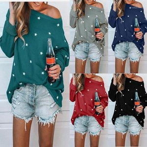 Sleeve Round Neck Casual Loose Famale Top Fashion Designer Apparel Womens Star Print Tshirt Spring Long