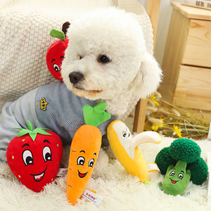 Dog Pet vegetais e frutas Forma Plush cachorro engraçado Toy Squeak Toy Chew Squeaker Squeaky Jogar Som Dog Toys
