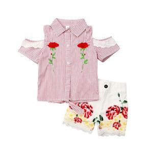 Toddler bambini Outfits Stampa senza spalline spalla Top T-shirts + Pants floreale breve estate 2PCS bambino vestiti della ragazza che coprono insieme