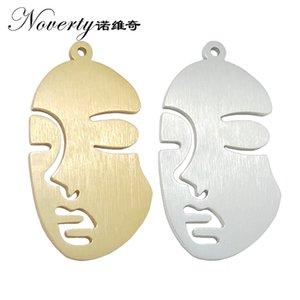 2019 Nuevo 2 unidades / bolsa 57 * 32mm Oro Dibujo de Alambre de Aleación de Aluminio Forma de la Cara Colgante para DIY Collar Pendiente accesorios