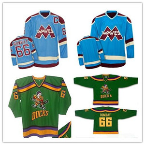 Пользовательские XS-5XL Пользовательские Mighty Ducks Bombay волны 66 Gordon Bombay хоккей Джерси стежков Любой игрок или номер Бесплатная доставка