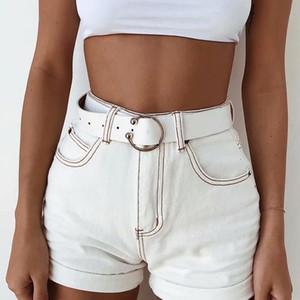 Cwlsp Sommer Weiß Patchwork Frauen Vintage Hohe Taille Streetwear Kurze Jeans Für Weibliche Jeansshorts Femme Ete 2018 Ql3922 Y19050905