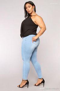 Lápiz Jeans Ligero Azul Lavado Skinny Jeans Sexy Sexy Ladies Zipper Fly Pantalones largos 7XL Verano Mujeres