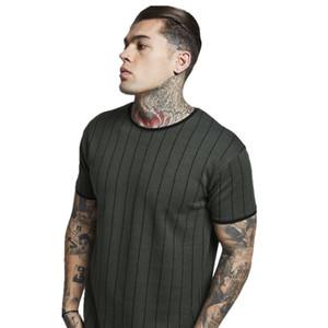 Hommes Coton rayé long T-shirt d'été Noir Vert foncé Longline manches courtes T-shirts Tops hommes