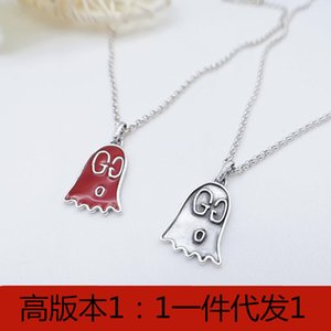 s925 sterling silver necklace red and white double G diluent enamel little ghost necklace Silver fashion pendant choker