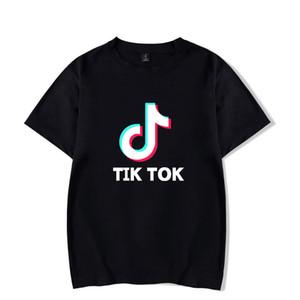 2019 Nova Original Moda Verão Tik Tok LOGO impressão em torno do pescoço de manga curta T-shirt homens mulheres casuais de algodão T cobre