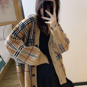 Весна 2020 новый утолщенной плед кардиган корейской версии женщин многопрофильных рыхлой средних и длинный свитер пальто тенденции