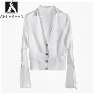 AELESEEN 2019 Осень High Street Женщины Куртки Новая Мода Европейский Верблюд Однобортный Элегантный Длинный Расклешенный Рукав Белая Куртка